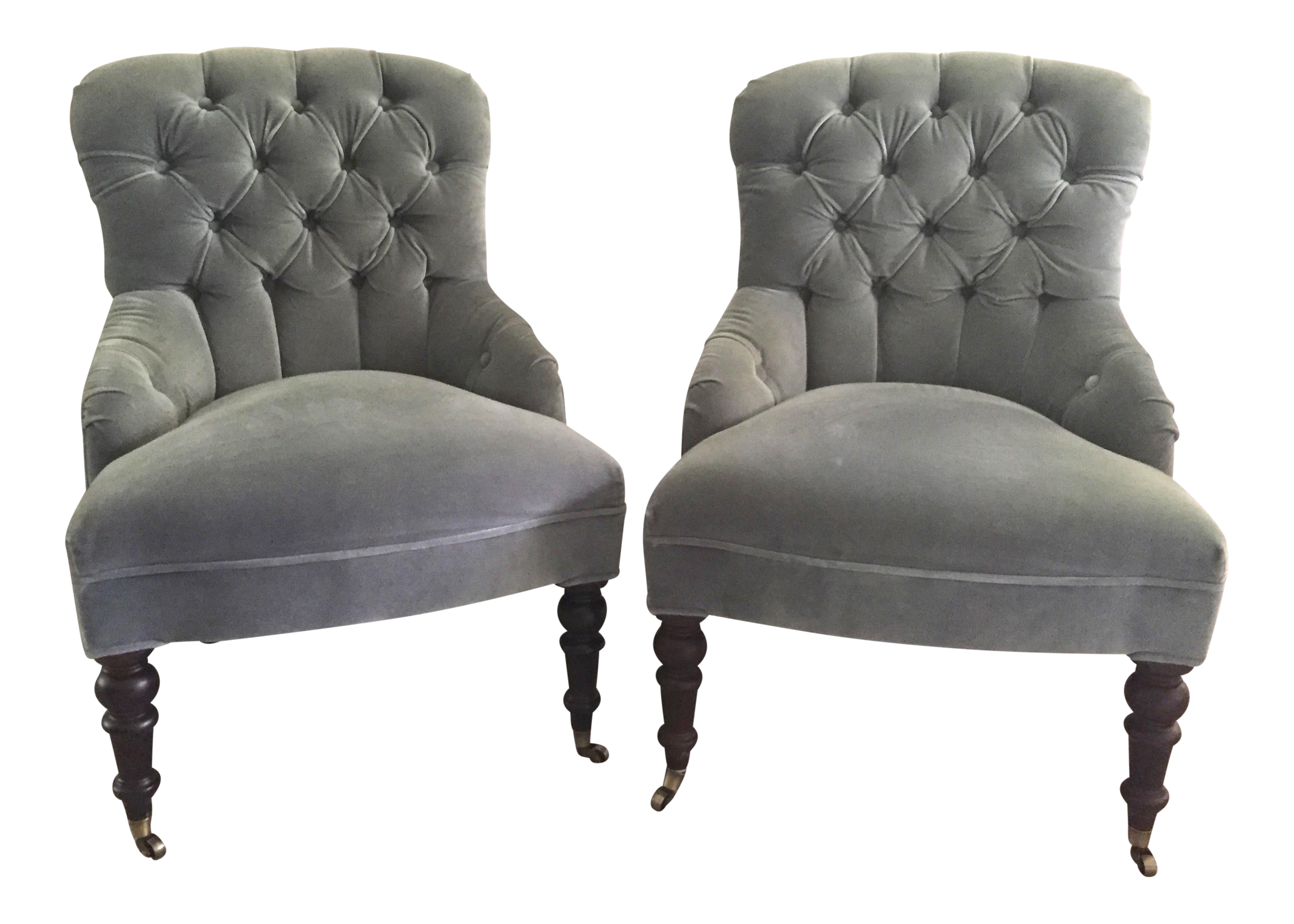 Mitchell Gold + Bob Williams Gloria Velvet Tufted Accent Chairs   A Pair