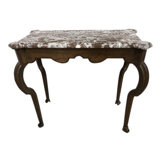 Portuguese Oak Marble Top Console Table