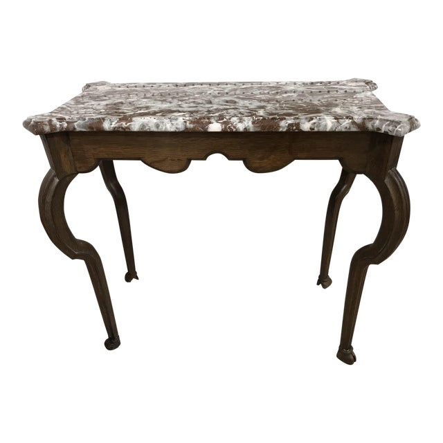 Portuguese Oak Marble Top Console Table For Sale