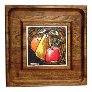 Vintage Wood Cheese Tray With Ceramic Tile Artwork by Fred Press For Sale
