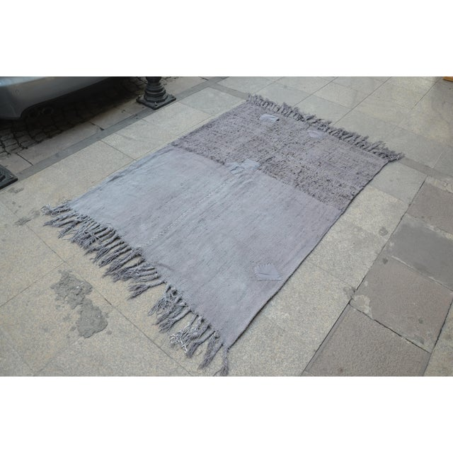 "Islamic Turkish Tribal Hemp Rug - 50"" x 67"" For Sale - Image 3 of 7"
