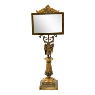 Antique 19th Century Grand Tour Gilt Bronze Roman Style Mirror With Cupid Figure For Sale
