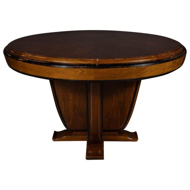 Black Art Deco Skyscraper Style Walnut & Black Lacquer Dining / Centre Table For Sale - Image 8 of 8