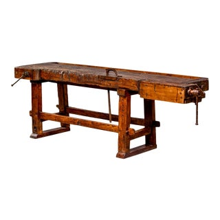 19th Century French Solid Oak Carpenters Work Bench With Vise For Sale