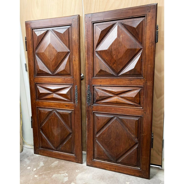 Rustic European Late 18th C Antique French Oak Armoire Doors - a Pair For Sale - Image 3 of 13