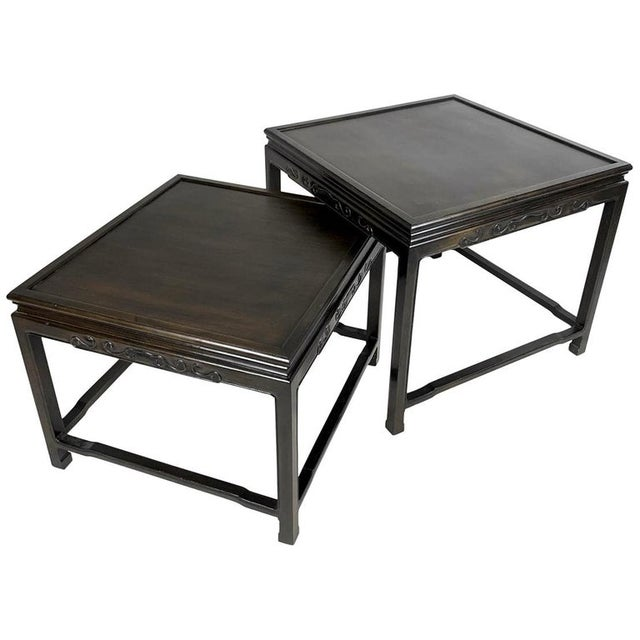 Pair of Mario Buatta for Widdicomb Asian Chinoiserie Ebonized Nesting Tables For Sale - Image 13 of 13