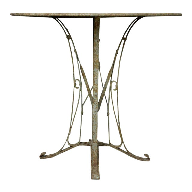 French 1920s Art Deco Style Iron Garden Table For Sale - Distinguished French 1920s Art Deco Style Iron Garden Table DECASO