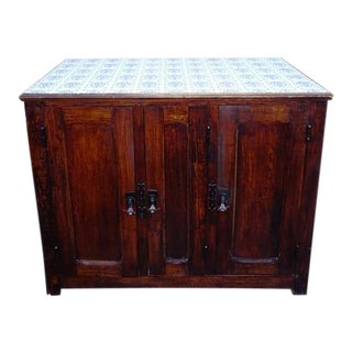 Vintage French Country Tile Top Sideboard For Sale