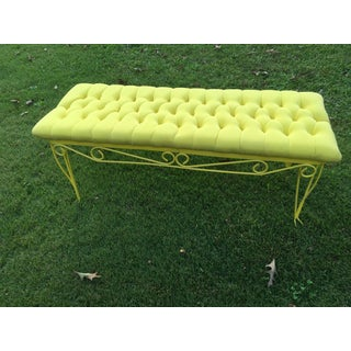 Vintage Mid-Century Yellow Tufted Bench Seat Preview