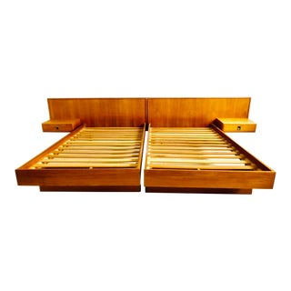 1980s Scandinavian Modern Teak California King Platform Bedframe For Sale