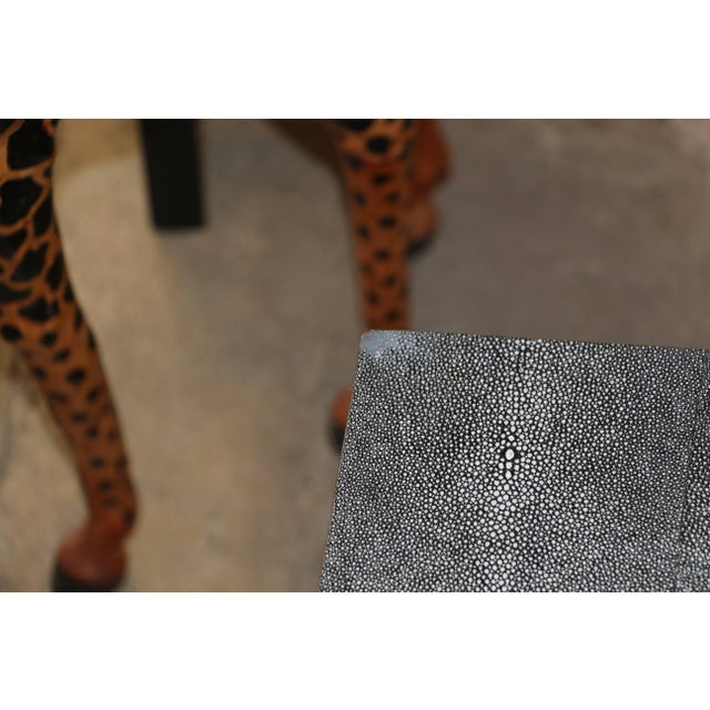 Faux Shagreen and Metal Coffee Table For Sale - Image 4 of 10