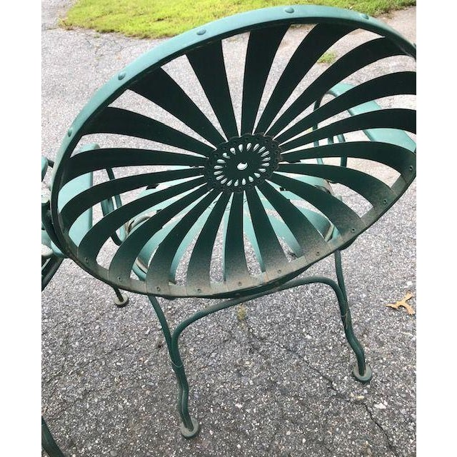 Green Francois Carre Style French Sunburst Spring Steel Deauville Garden Chairs - A Pair For Sale - Image 8 of 12