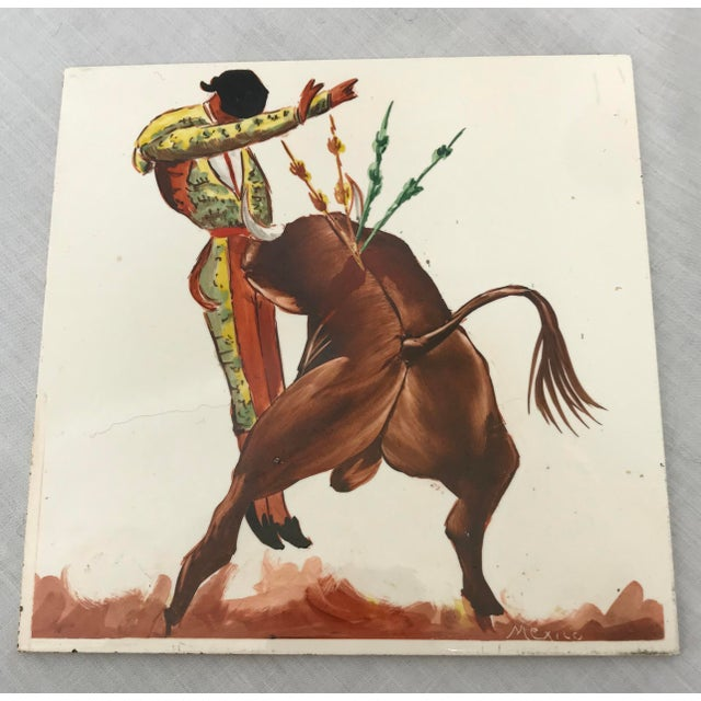 Mid 20th Century Torero & Bull Ceramic Tiles - Set of 6 For Sale In West Palm - Image 6 of 8