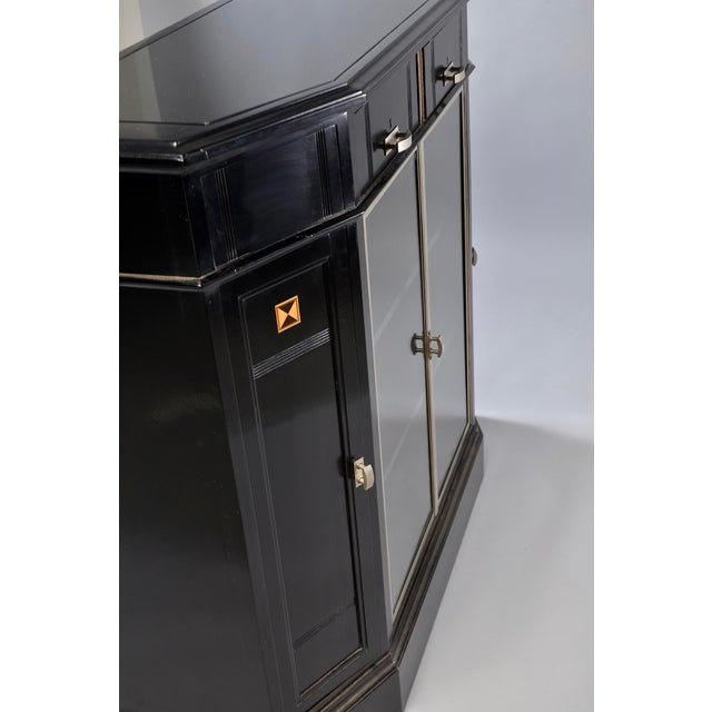 Silver Art Deco Ebonized Cabinet With Aluminum Trim and Glass Doors For Sale - Image 8 of 11