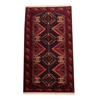 Geometric Red & Brown Tribal Hand-Knotted Rug - 3′7″ × 6′8″ For Sale