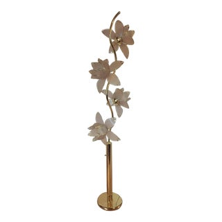 Art Deco Style Lotus Flower Brass and Glass Floor Lamp For Sale