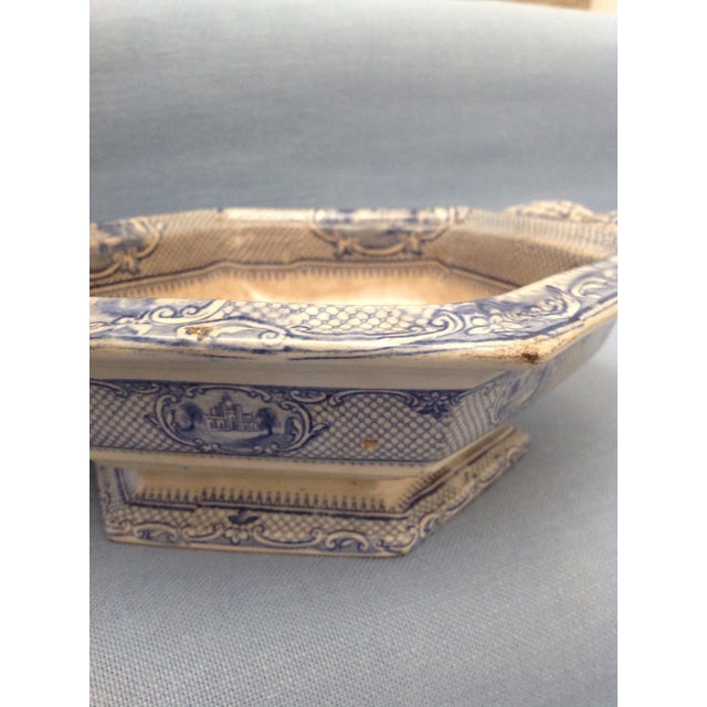 Late 20th Century Antique Blue and White Transferware Dish With Lid For Sale - Image 5 of 13