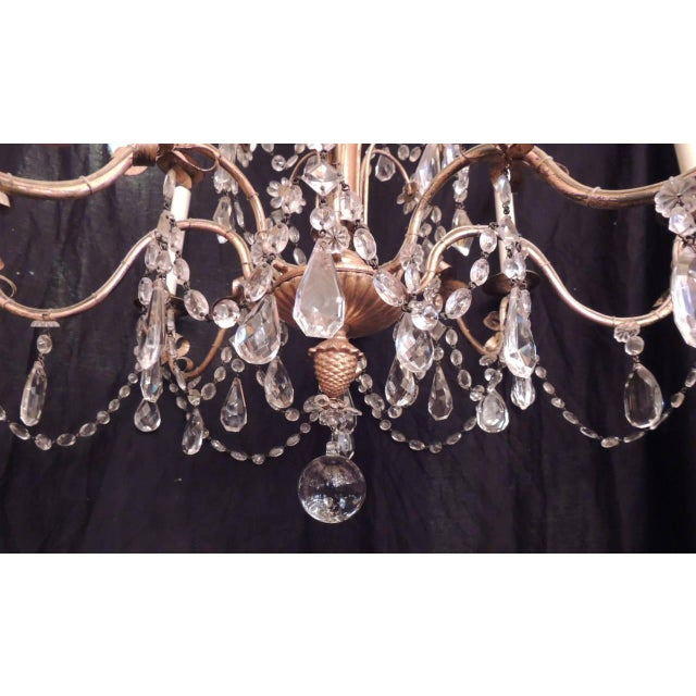 French 20th C French Grand Bagues Tole and Crystal Chandelier For Sale - Image 3 of 10