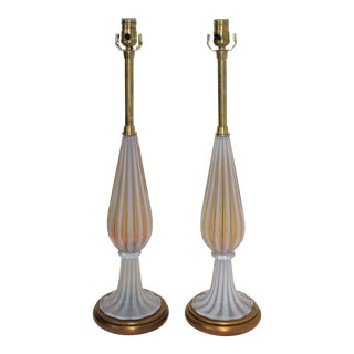 Marbro Murano Table Lamps by Seguso - a Pair For Sale