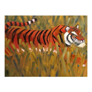Stephen McDonough Contemporary Tiger in Tall Grass Original Oil Painting For Sale