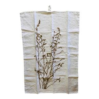 German Linen Kitchen Towel - Mustard Branch For Sale