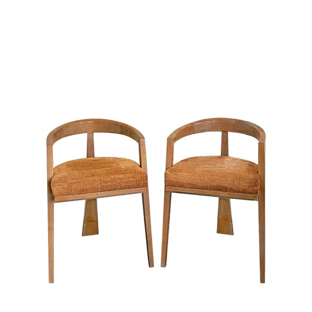 Mid Century Modern Cerused Oak Sculptural French Chairs - a Pair For Sale - Image 11 of 11
