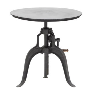 Industrial Anthropologie Metal Crank Table For Sale