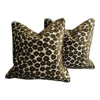 Custom-Tailored Cut Velvet Fabric Pillows - A Pair For Sale