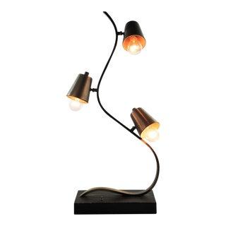 Mid-Century Modern Steel 3 Light Curvilinear Table Lamp For Sale