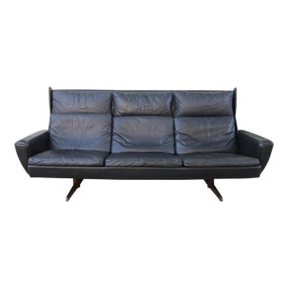 Georg Thams Wing Back Leather and Rosewood Sofa For Sale