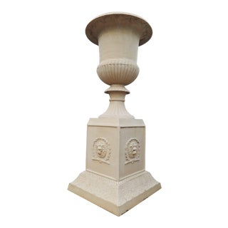 Extravagant Classic Cast Iron Urn on Plinth For Sale
