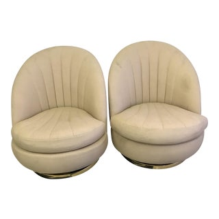 Milo Baughman Clam Shell Swivel Chairs - a Pair