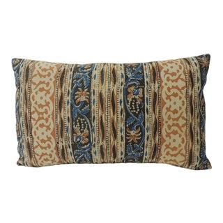 Vintage Indian Hand-Blocked Artisanal Textile Decorative Lumbar Pillow For Sale