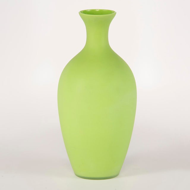 1970s Tall Mid Century Cenedese Murano Glass Green Vase For Sale - Image 5 of 8