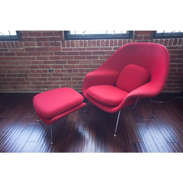 Selling one of our Womb Chairs with Ottoman. Chair frame is chrome. Fabric is Classic Red Knoll Fabric in Mohawk. There is...