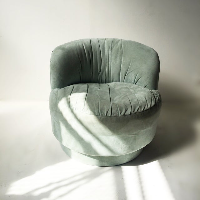 Vintage Mint Suede Swivel Chair - Image 3 of 5