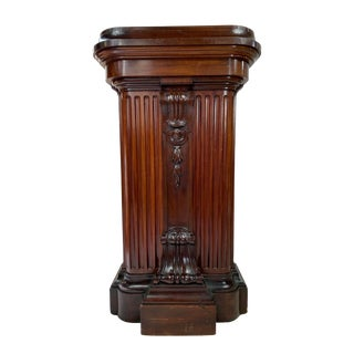 1870s Victorian Carved Mahogany Pedestal For Sale