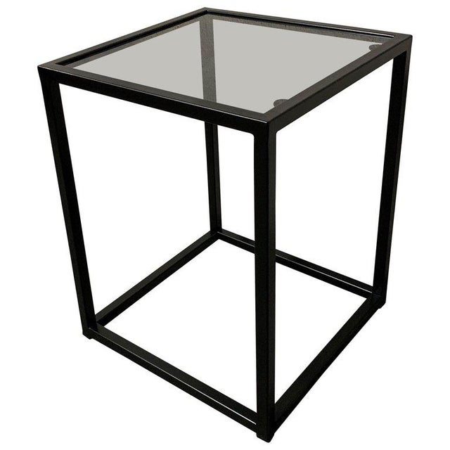 Ceramic New Modern Square Black Table With Fumee Glass Top, Indoor or Outdoor For Sale - Image 7 of 7