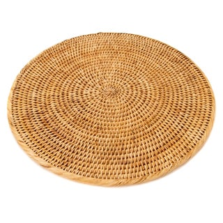 "Boho Chic Artifacts Rattan Round Placemat 14"" For Sale"
