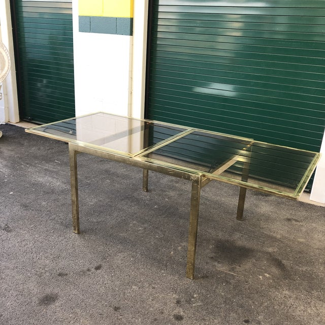 Vintage Dia Brass Lacquer and Glass Expanding Dining Table For Sale - Image 13 of 13