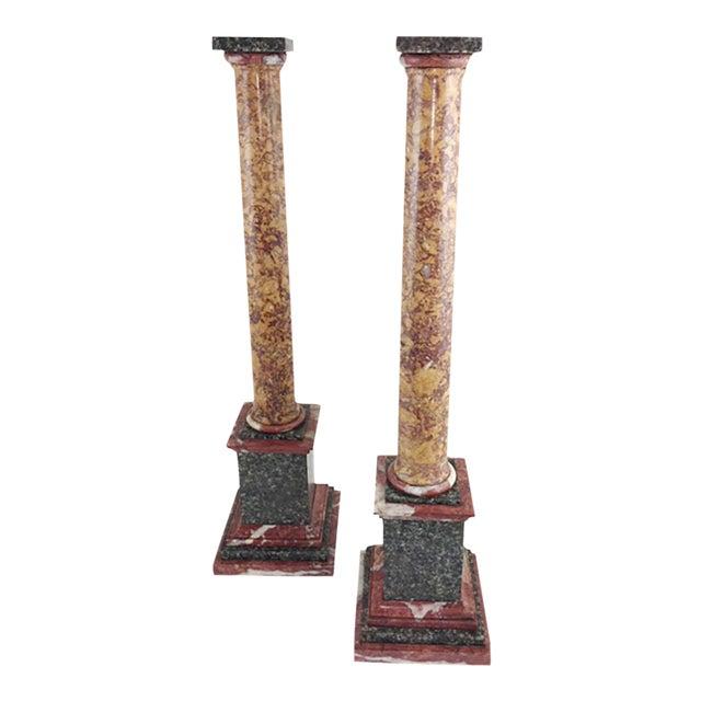 Grand Tour Marble Columns - a Pair For Sale