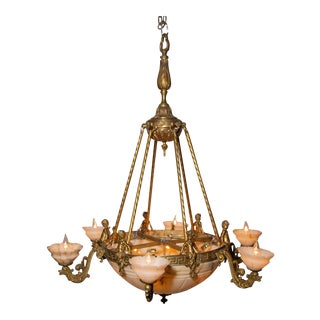 Circa 1920s Neoclassical Bronze and Alabaster Chandelier For Sale