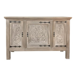 Buffet, Antique Gothic in Whitewashed Oak For Sale