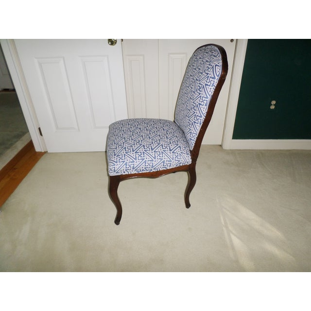 Louis XV Fruitwood Side Chair Covered in Fortuny For Sale In Philadelphia - Image 6 of 13