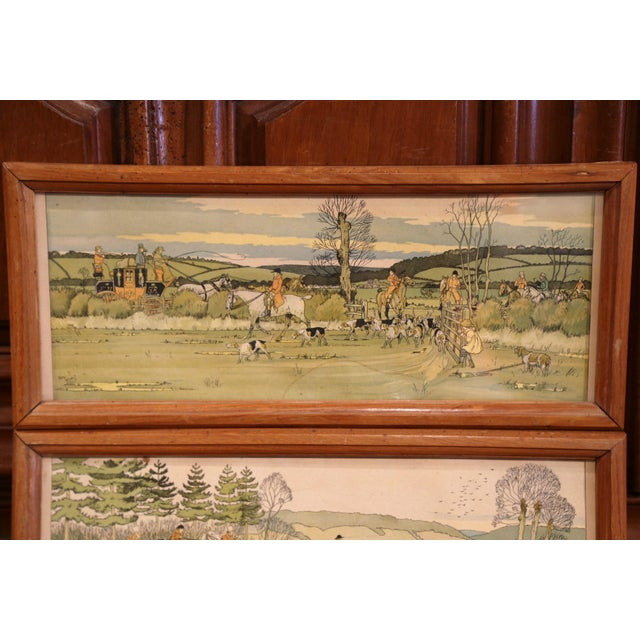 This elegant pair of antique wall hanging hunt scenes were painted in England, circa 1870. Each horizontal, framed...