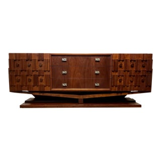 Mid Century Modern Brutalist Floating Credenza or Dresser For Sale