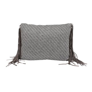 Light Brown Leather Fringe Wool Pillow For Sale