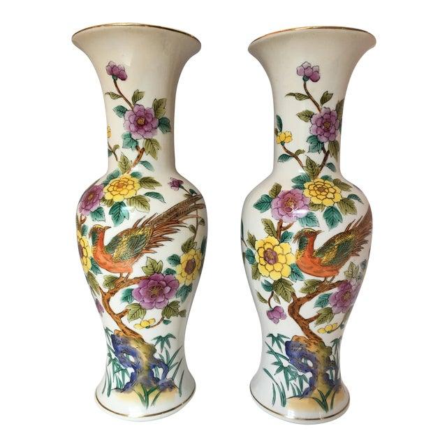 Porcelain Pheasant Vases - A Pair - Image 1 of 6