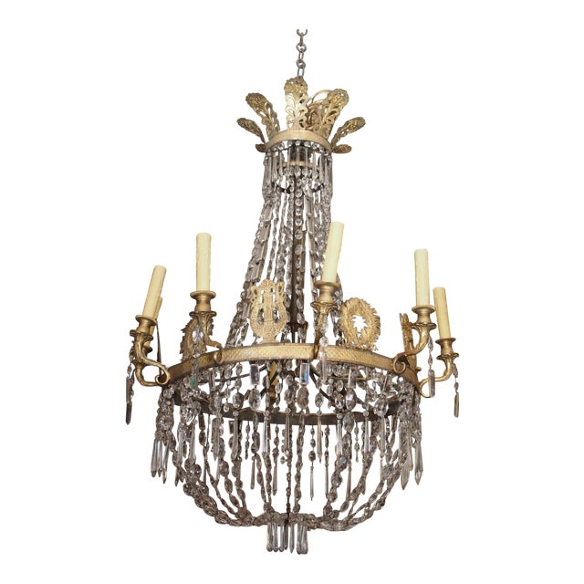 19th Century Empire Crystal Chadelier - Image 1 of 9