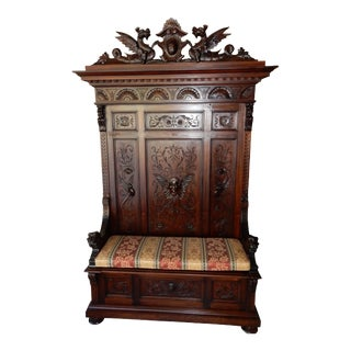 "Antique Inticrately Carved English Mahogany Hall Stand Bench Griffins, Lions 94"" For Sale"